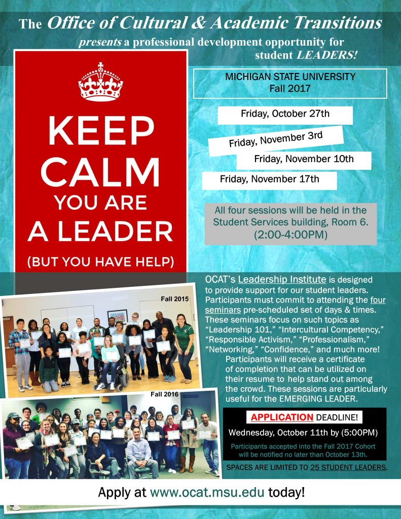 Leadership Institute Session One @ Student Services Building Room 6