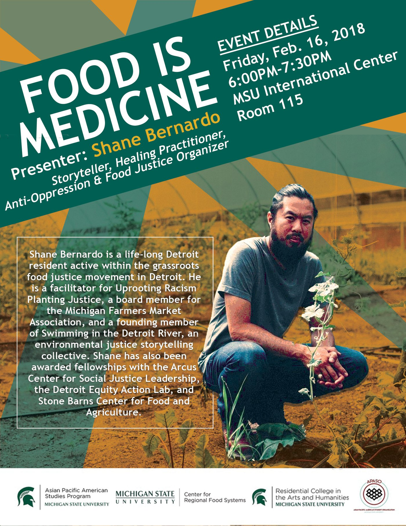 Food is Medicine by Shane Bernardo @ MSU International Center 115 | East Lansing | Michigan | United States
