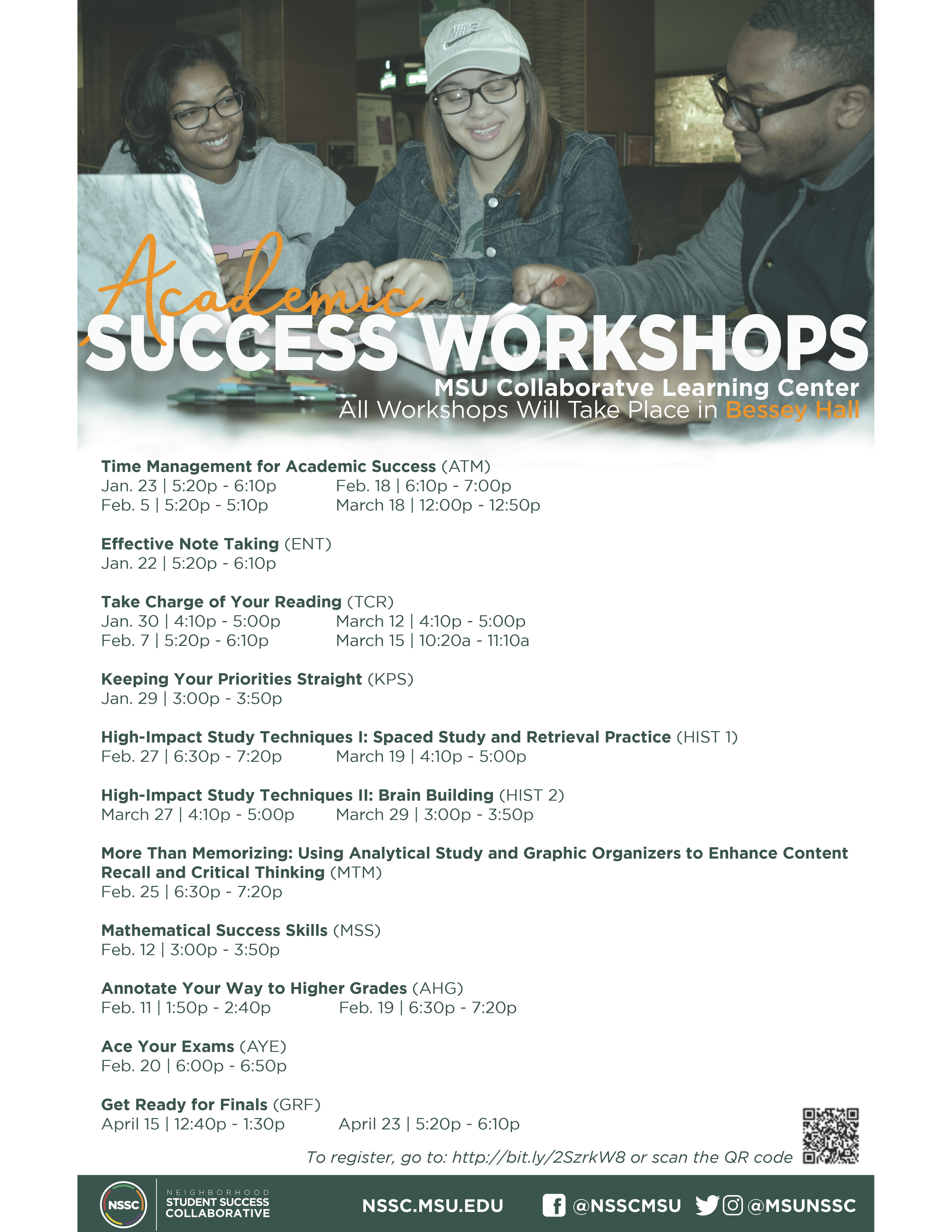 Academic Success Workshops!! @ MSU Collaborative Learning Center at Bessey Hall