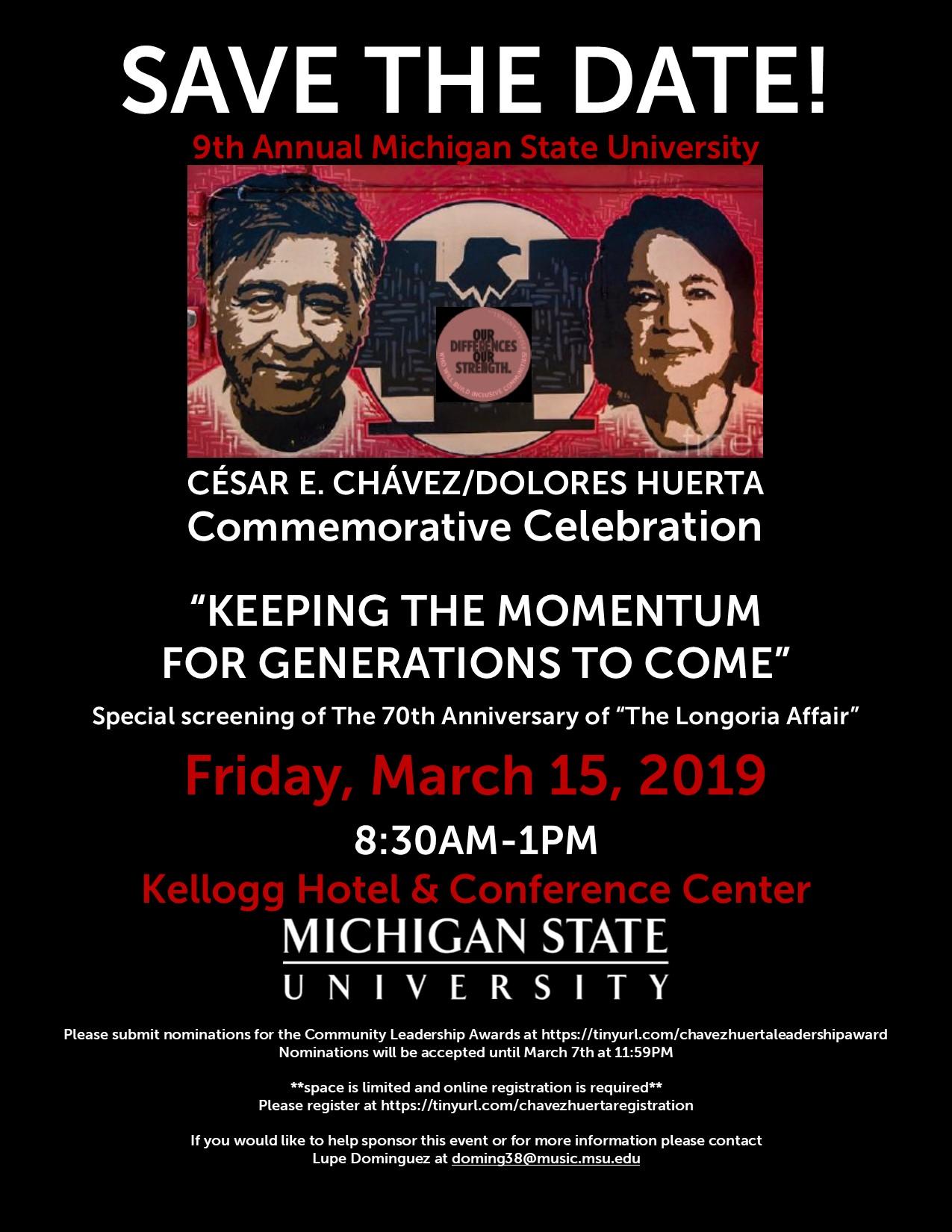 Cesar e Chavez/ Dolores Huerta Commemorative Celebration @ Kellog Hotel and  Conference Center