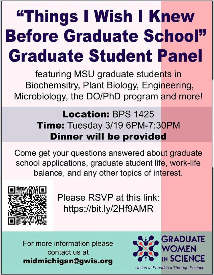"""Things I Wish I Knew Before Graduate School"" Graduate Student Panel @ BPS 1425"