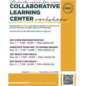 NSSC Get Ready For Finals - Collaborative Learning Center Workshop @ MSU Union 30