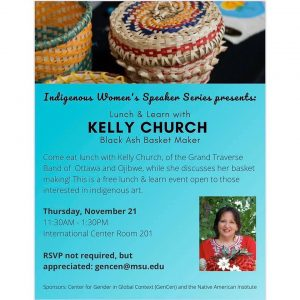 Indigenous Woman Speaker Series Presents: Lunch and Learn With Kelly Church @ International Center Rm 201