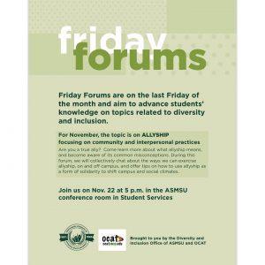 Friday Forums @ ASMSU Conference Room