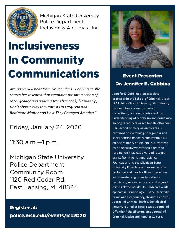 Inclusiveness in Community Communications @ MSU Polica Department, Community Room