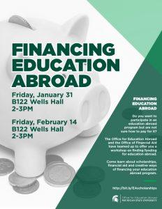 Financing Education Abroad @ B122 Wells Hall