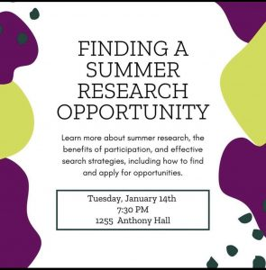 Summer Research Opportunity @ 1255 Anthony Hall
