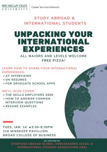 Unpacking Your International Experiences @ Miskoff Pavillion, M216