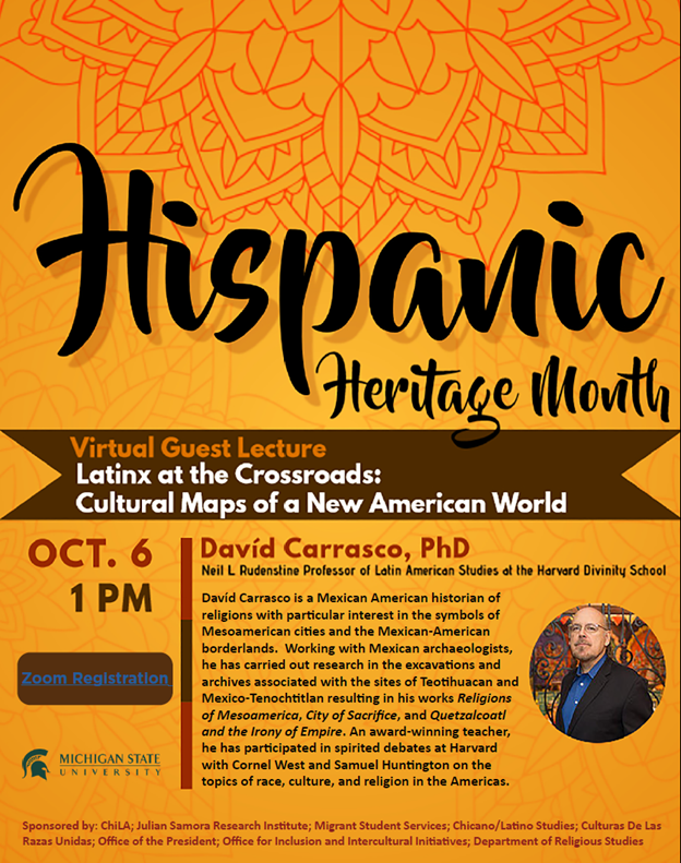 """HHM Lecture - """"Latinx at the Crossroads: Cultural Maps of a New American World"""" @ ZOOM"""