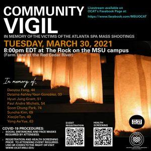 Community Vigil- Atlanta Spa Mass Shootings @ the Rock