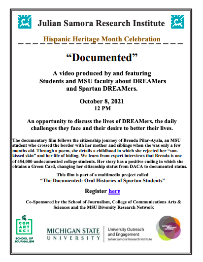"Julian Samora Research Institute: Hispanic Heritage Month Celebration - ""Documented"" @ ONLINE"