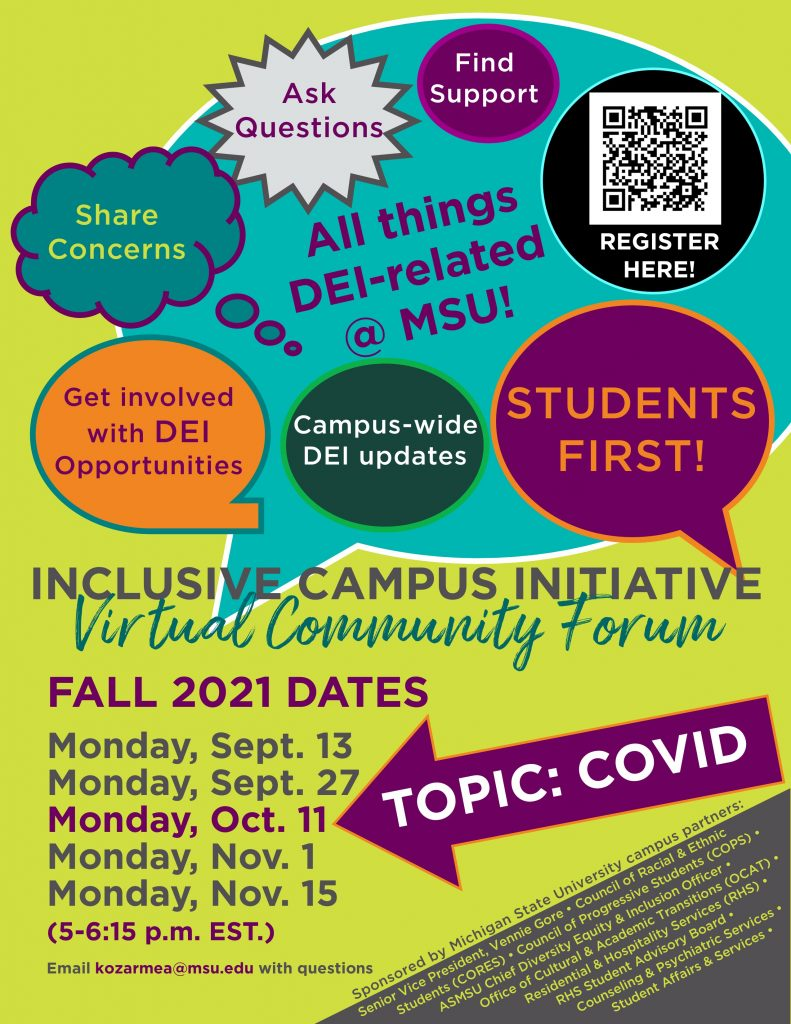 RESCHEDULED! Inclusive Campus Virtual Community Forum